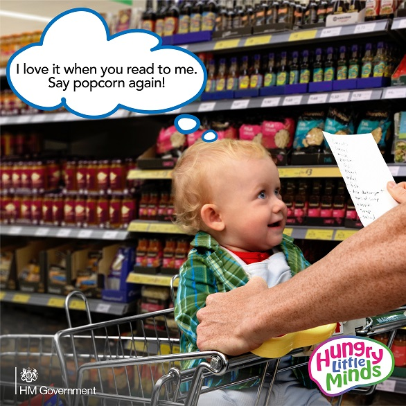 Baby in trolley Hungry Little Minds campaign